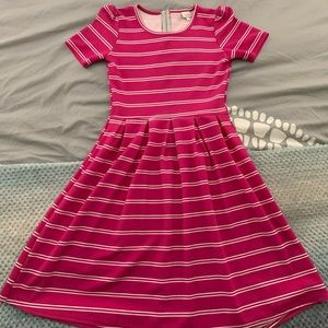 Lularoe Pink and White Striped Amelia Dress